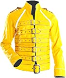 LP-FACON Mens Freddy Jacket Wembley Concert Yellow Faux Leather Costume