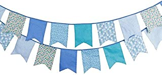 FirstKitchen 3.5M/11Feet Lovely Bunting Cotton Flag Banner Pennant Flag Garland Fabric Flags Double-Sided Vintage Cloth Shabby Chic Decoration for Birthday Parties,Ceremonies,Bedrooms (Blue)