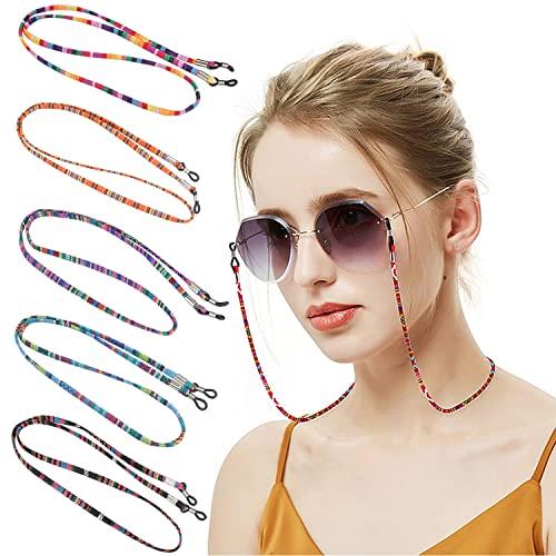 nuoshen 5 Stück Brillenkette, Bunte Brillenband Baumwolle Brillen Kette Damen Brillenkordel für Sonnenbrillen Lesebrillen Sportbrillen
