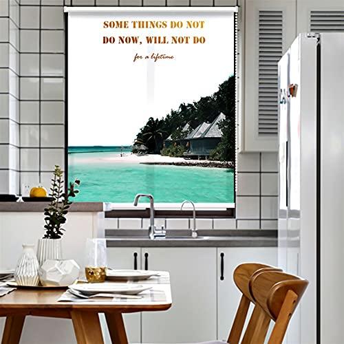 Estores Enrollables Impermeable Cortina Enrollable - 100% Apagón Tiro Lateral Interior Vertical con Cordón de Tracción - Montaje en Pared y Techo, Estampado de Paisaje (Size : 90x115cm/35.4x45.3in)