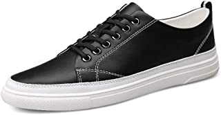 XUJW-Shoes, Mens Fashion Sneakers for Men Casual Walking Skate Shoes Lace Up Round Toe Anti-Slip Breathable Leather Upper Lightweight Durable Comfortable (Color : Black, Size : 8 UK)
