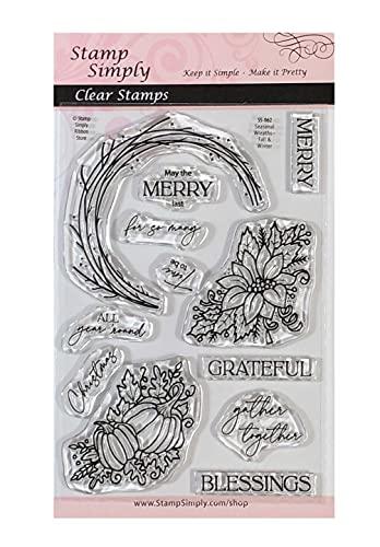 Sellos Simply Clear - Sellos de temporada para otoño e invierno, 4 x 15 cm, 12 piezas