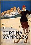 World of Art Póster reproducido A3 con Texto en inglés Vintage Travel Italy for Cortina D'AMPEZZO c1920, 250 g/m²