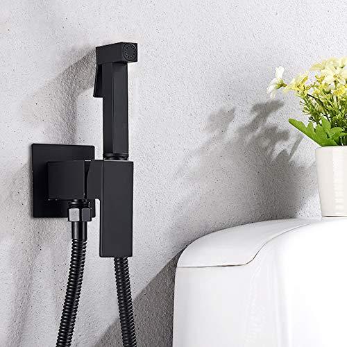 Onyzpily - Grifo de bidé, color negro, pulverizador de pared para inodoro (latón, válvula de cobre, juego de válvula de chorro, bidé, ducha fría y caliente