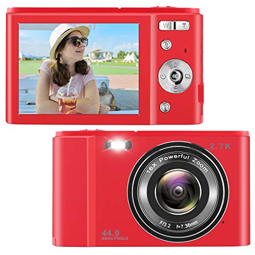 Point Shoot Digital Cameras, Video Camera Mini Camera Vlogging Camera LCD Screen 16X Digital Zoom 36MP Rechargeable Point and Shoot Camera for Compact Portable Kids Teens Gift (2.8 inch red)