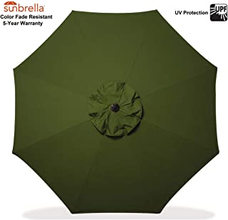 Outdoor Patio Umbrella Replacement Canopy 9 FT 8 Ribs Sunbrella Fabric Market Umbrella Top Cover Only Sunbrella Fabric Canvas Palm (Sunbrella Canopy Only, Palm (Dark Green))