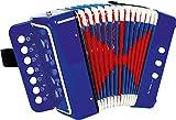 3318 Fisarmonica 'Blu' small foot, promuove la sensazione del ritmo e della musica, strumento musicale con cinghia, a partire da 3 anni di età