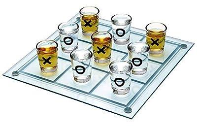 Jeu de morpion avec verres à shot Kemket - Pour table, bureau, sol, intérieur ou extérieur - Jeu de réflexion pour adultes et enfants