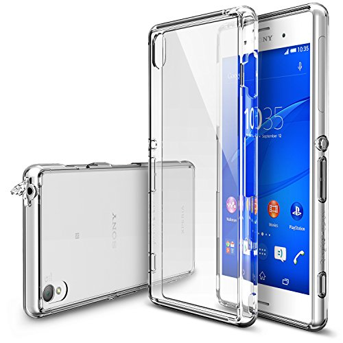 Ringke Fusion Compatible with Xperia Z3 Case Free HD Film, Dust & Drop ProtectionClear Shock Absorption Bumper Premium Hard Case (Not for Z3+/Z3 Compact/Z3 Dual/Z3v/Z3 Tablet)