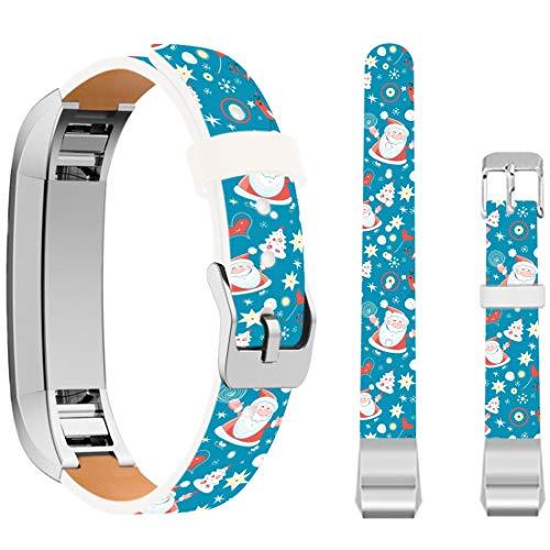 Ecute Soft Leather Band Strap Compatible with Fitbit Alta/Fitbit Alta HR - Blue Santa Claus