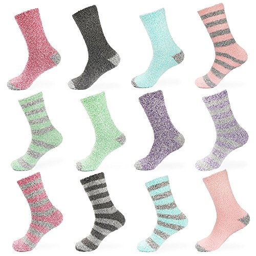 BambooMN Women's Extra Large Soft Fuzzy Warm Cozy Comfy Fuzzy Plush Cute Striped Solid Slipper Socks - Assortment C - 12 Pairs