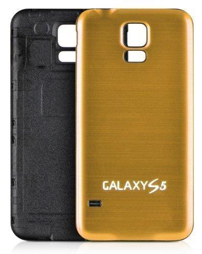 DONZO PLATIC Backcover Akkudeckel / Akkufachdeckel mit gebürstetem Aluminium für Samsung Galaxy S5 I9600 und I9605 und SM G900 - Schwarz / Gold