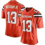 Camiseta de fútbol Americano 13# Cleveland Browns Odell Beckham Jr Rugby Fans Jersey Naranja Camiseta de Manga Corta Transpirable de Secado rápido.-Orange-L