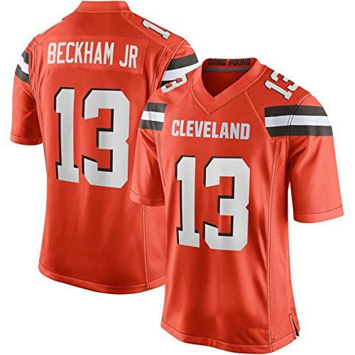 Camiseta de fútbol Americano 13# Cleveland Browns Odell Beckham Jr Rugby Fans Jersey Naranja Camiseta de Manga Corta Transpirable de Secado rápido.-Orange-XL