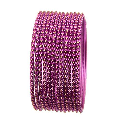 Touchstone Dutzend Armreifkollektionen, hervorragend lasergeschnittene Designerschmuck-Armreifen aus Metall für Damen 2.37 Lila
