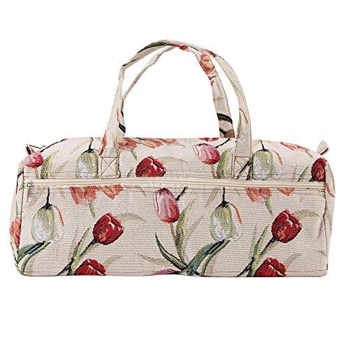 Bolsa de almacenamiento Hogar Tela artesanía Agujas de tejer Almacenamiento Agujas de coser Organizador Bolsa Cáñamo como una bolsa de cosméticos, (Rote Rose)