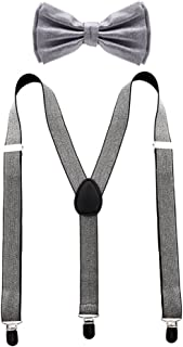 metallic silver bow tie and suspenders