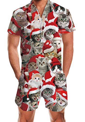 Men's Guy Rompers Ugly Cats Christmas One Piece Short Sleeve Party Hip Hop Unique Jumpsuit Gay Outfits Fashion Holiday Custom Overalls XX-Large