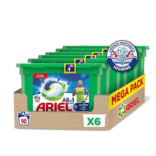 Ariel Allin1 Pods Active - Detergente en cápsulas para la lavadora, óptimo para eliminar los malos olores, 90 lavados (6 x 15)