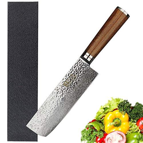 Nakiri 6,5 pulgadas Usuba japonesa Martillo 67layers acero de Damasco de carnicero del palo de rosa de la manija Cuchillo de chef (Size : 6.5 inch)