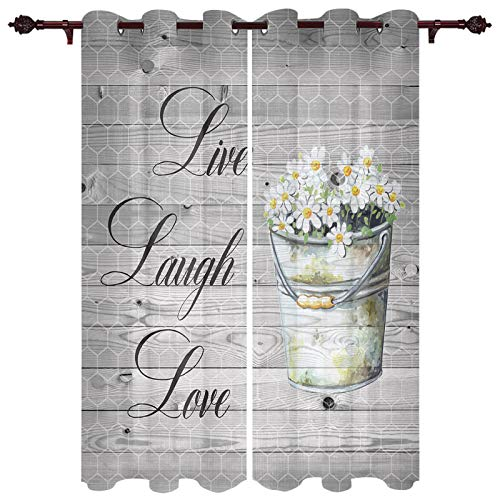 "URDER Luxury Set of 2 Grommet Window Curtain Panels for Kitchen, Patio Door Decoration Live Laugh Love with Daisy Vintage Barn Wood 52""x84""x2 Panels Indoor Privacy Curtain Drapes for Bedroom and Dorm"