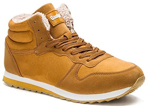 Gaatpot Herren Damen Winterschuhe Schneestiefel Winter Hohe Sneakers Warm gefütterte Leder Schnür Stiefel Boots Schuhe Gelb EU 37 = CN 38