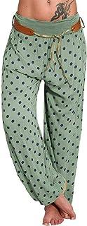 Remanlly Yoga pants wide leg yoga pants Women Ladies Printed Band Width Loose Leg Pants Women's Casual Pants