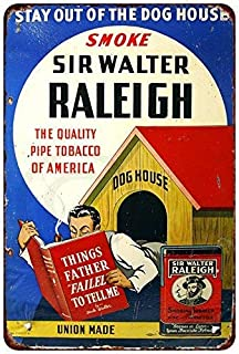 12×16inch Metal tin Sign Wall Decoration,Sir Walter Raleigh Smoking Tobacco Vintage Reproduction,Perfect Wall Decoration