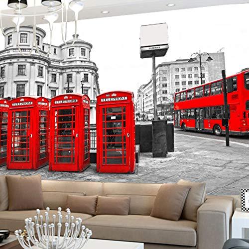 Londen Red Bus City Muurschildering met 3D-effect 300x210cm