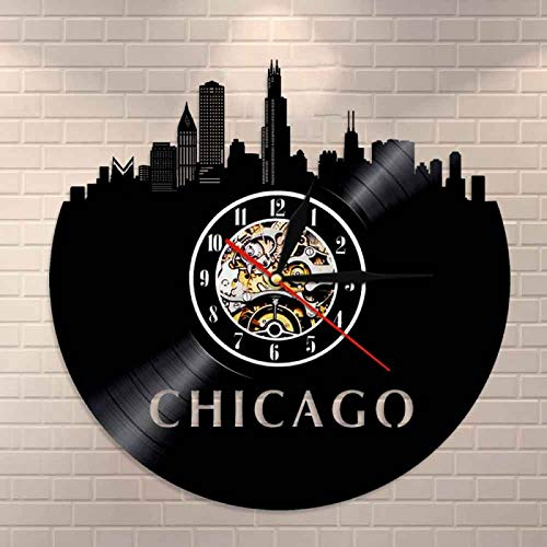 YINU Chicago Illinois Skyline Reloj de Pared Reloj de Vinilo de la Ciudad de Chicago Reloj de Vinilo del Horizonte de EE. UU. Arte de Pared de Registro de Vinilo Turismo Regalo Minimalista