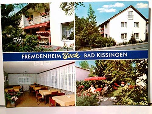 Bad Kissingen. Fremdenheim Beck. Bes. Betty Schmidt. Alte Mehrbild AK farbig, ungel. ca 80ger Jahre. Gebäudeansicht, Gastraum Innenansicht, Terrasse mit Hollywoodschaukel, Sonnenwiese.