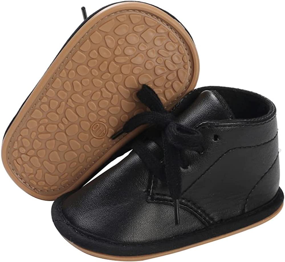 E-FAK Baby Boys Girls Shoes Leather Lace Up Infant Sneakers Rubber Sole Moccasins Oxford Loafers Toddler Walking Wedding Uniform Dress Shoes