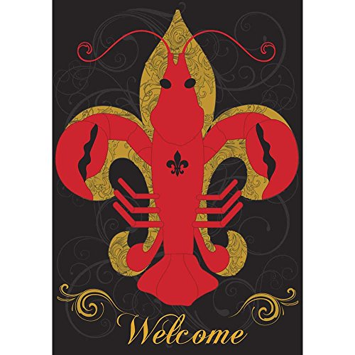 Magnolia Garden Welcome Crawfish Fleur de Lis on Black 44 x 30 Rectangular Screenprint Large House Flag