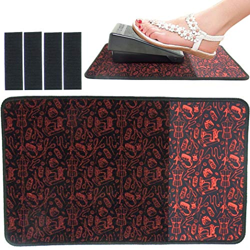 Sewing Foot Pedal Stay in Place mat, sew Non Slip Rubber and Velcro pad to Keep Foot Pedal Steady on Hard Floor or Carpet.
