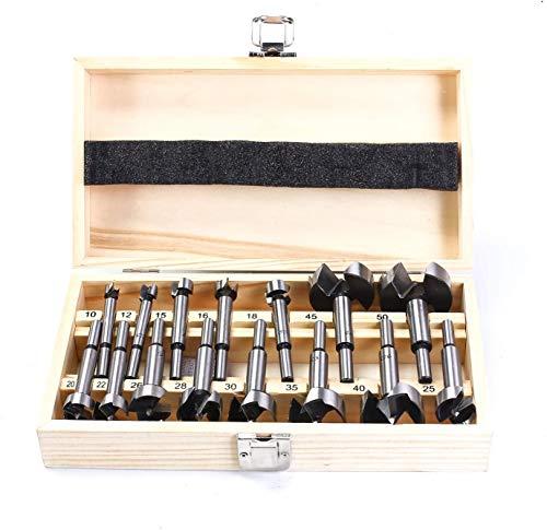 15 tlg. ForstnerBohrer Set 10mm - 50mm Holzlochsäge Bohrer Schneidwerkzeug Kits für Holzbearbeitung, Möbel, Türscharnier Bohrloch
