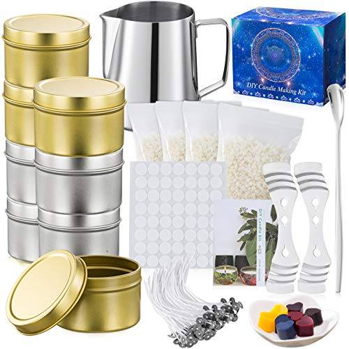 McNory Kit per Fabbricazione Candele DIY, Fabbricazione Candele Kit DIY Set Regalo,480g Cera d'api Naturale, 50 Stoppini Cerato con Sostenitori,8 Candele Fai-da-Te Barattoli Latta Creazione