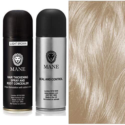Mane Hair Thickening Spray 200 ml with Seal & Control 200 ml Fixing Spray -12 colours (Light Brown)