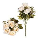 Tifuly Rosas Artificiales, 2 Ramos 12 Flores de Seda Cabezas de Flores Falsos capullos de Rosas para el hogar Oficina Hotel Decoración de la Boda, Arreglo Floral, Centros de Mesa(Champán)