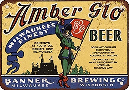 Odeletqweenry Metal Sign, Tin Sign, 1933 Banner's Amber Glo Bier Vintage Look Reproductie Metalen Tin Sign 12X18 Inches
