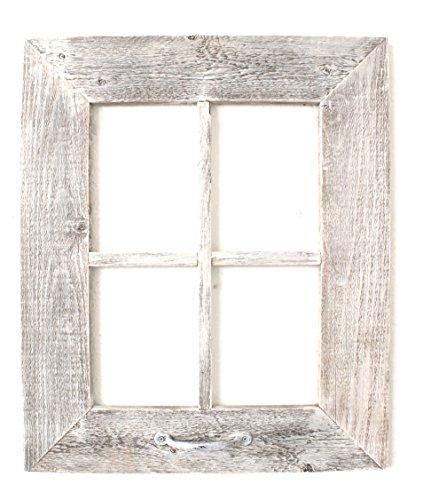 BarnwoodUSA | Farmhouse Decorative Window With Handle (22x18, White Wash)