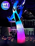 Holidayana Color Changing Ghost Yard Inflatable 9 ft Tall Halloween Ghost Outdoor Yard Inflatable Decoration with Multi-Colored LED Lights, Built-in Fan, and Tie-Downs