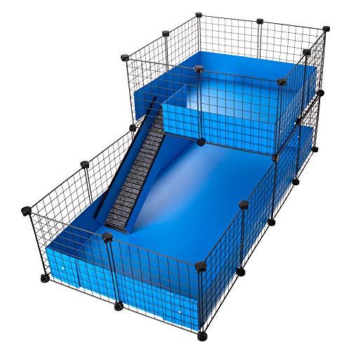 CagesCubes - Jaula CyC Deluxe (Base 2X4 + Loft 2x2 - Panel Negro) + Base de Coroplast en Azul para cobayas