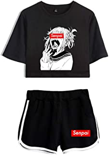 2 Piece�Hentai Outfits for Women Summer Anime Crop Top and Shorts Pants Sets