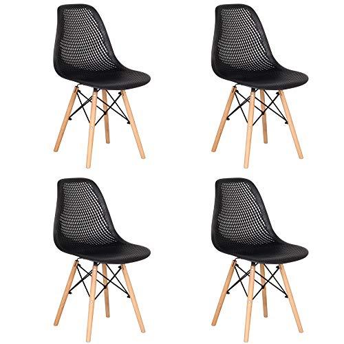 BenyLed 4er Set Esszimmerstühle Moderner Einfacher Hohler Plastikstuhl, Freizeitstuhl für zu Hause, Moderne Minimalistische Esszimmerstühle (Schwarz)