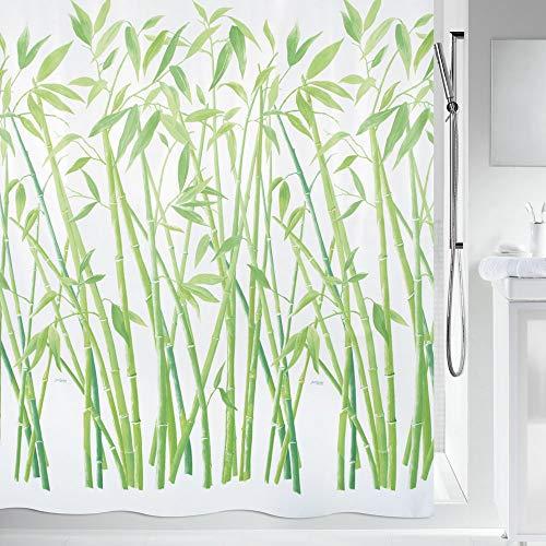 "Spirella Anti-Schimmel Duschvorhang - Anti-Bakteriell, waschbar, wasserdicht, Polyester, ""Bambus"" 240x180cm Grün"