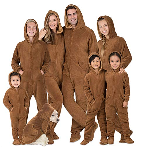 """Footed Pajamas - Family Matching Chocolate Brown Hoodie Onesies for Boys, Girls, Men, Women and Pets - Kids - Medium (Fits 4'6 - 4'8"""")"""