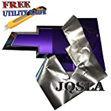 JQSLA 2pcs 11' x 4.8' Purple Satin Matte Chrome Plating Vinyl Sheets Cut-Your-Own Decal for Chevy Bowtie Emblem Overlay Grill Trunk and Rear Logo DIY with Free Utility Knife