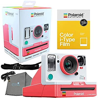 Polaroid Coral OneStep2 Viewfinder VF i-Type Camera 9018 Bundle with a Color i-Type Film Pack 4668 (8 Instant Photos) and a Lumintrail Cleaning Cloth