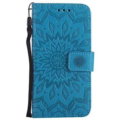 Ysimee Coque LG K10, Étui Portefeuille Magnétique en Cuir Fleur en Relief Folio Housse Con Antichoc TPU Bumper Poche de Cartes Fonction Support Coque à Rabat pour LG K10,Bleu