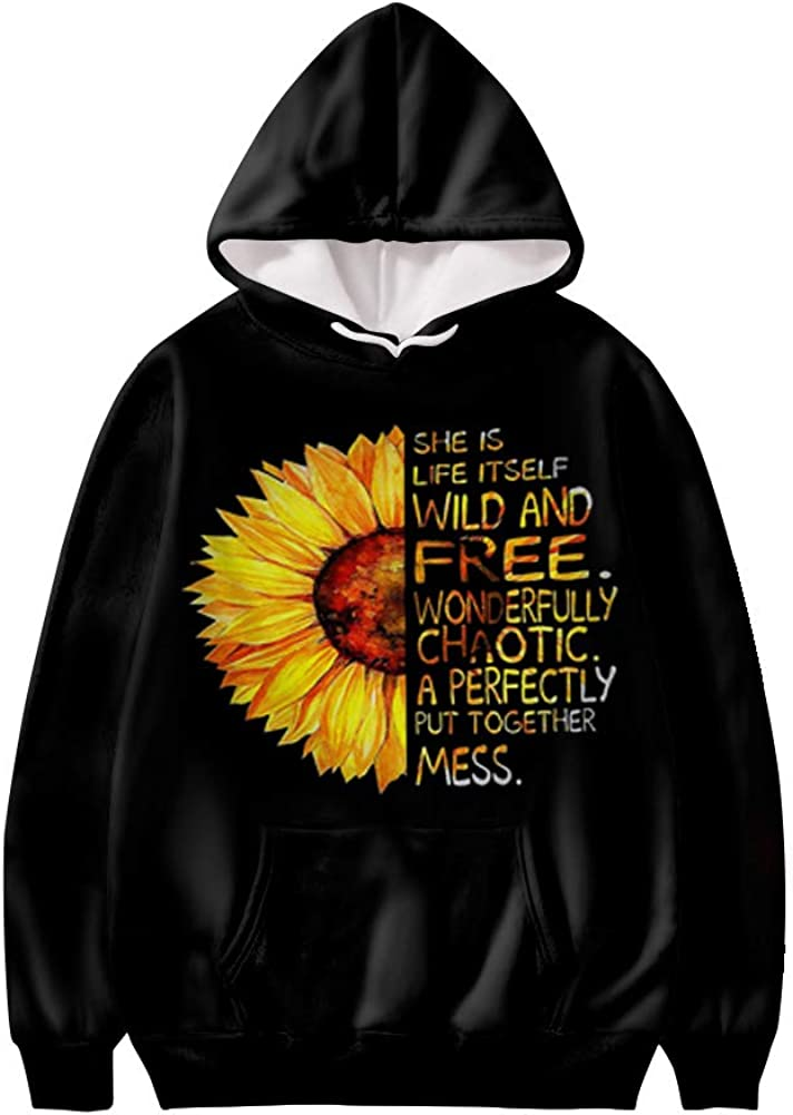 WELLFLYHOM Sweatshirts for Women Hoodie Pullover Hooded Sweater with Designs and Pocket Long Sleeve Tops XS-4XL